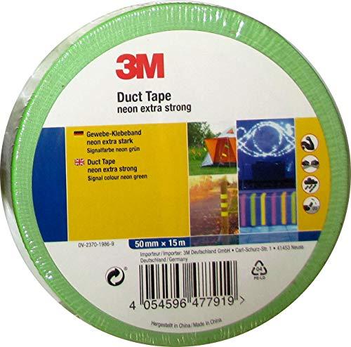3M Premium Gewebeklebeband/Duct Tape, extra stark in Neon Signalfarbe (Neongrün)