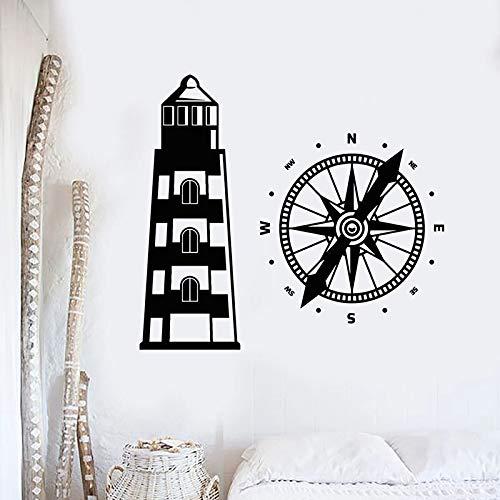 Calcomanía de pared de faro, casa de playa, brújula náutica, pegatinas de vinilo creativas para ventanas, dormitorio infantil, baño, decoración del hogar, Mural