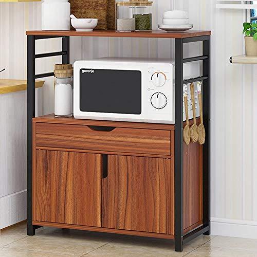 Cuisine de Stockage Chars Cuisine Rack Four à Micro-Ondes Support 2-Tier étagère avec tiroirs et Les armoires pour Mini Four Grille Pain (Color : Brown, Size : Free Size)