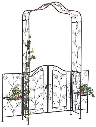 DanDiBo Rosenbogen mit Tor Tür aus Metall 101759 Gartentor 236x186 cm Schmiedeeisen Rankgerüst
