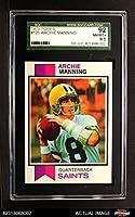1973 Topps # 125 Archie Manning New Orleans Saints (Football Card) SGC 8.5 - NM/MT+ Saints Ole Miss