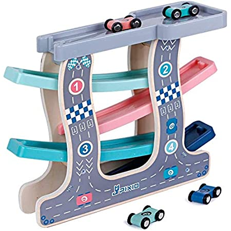 Toyshine Wooden Racer Ramp Toy with 4 Car Ramps, 1 Parking Garage & 4 Mini Cars – Wood Race Track for 1, 2, 3 Toddlers, Boys & Girls – Educational Vehicle Toys- Multi Color