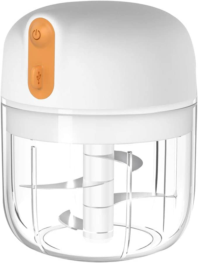 Electric Mini Garlic Chopper,Cordless Mini Food Chopper,Portable Food Processor,for Chop Pepper,Onion,Vegetable,Ginger,Fruit,Blender for Food Meat and Baby Food,BPA Free,4 Blades(350ml)