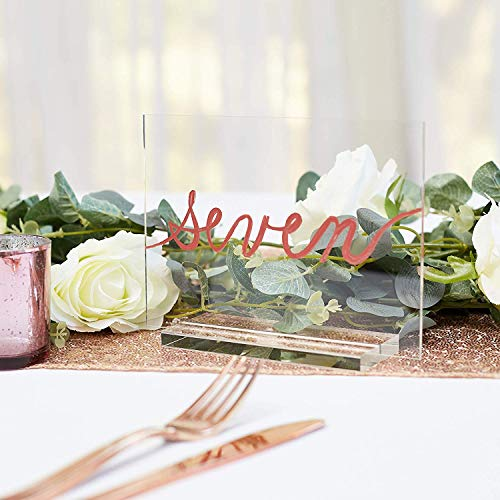 Acrylic Table Number Holder – 5x7 Clear Sheet + Stand – Wedding Table Signs | Set of 10 – Customizable DIY – Business Accessories – Numeros para Mesas