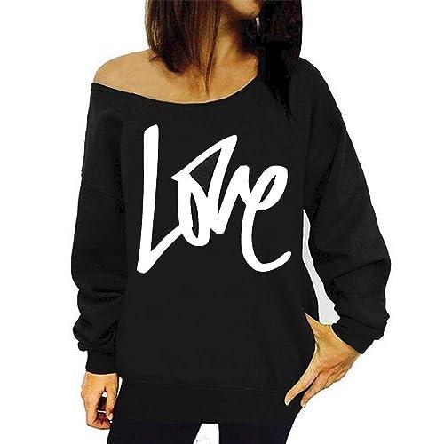 ca7d9a2cae1 RJXDLT Women's Off Shoulder Sweatshirt Slouchy Pullover Tops Long Sleeve  Casual Shirt