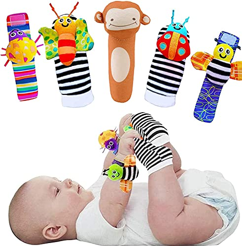 Baby Boy Girl Toys 0-3 3-6 6-9 10-12 Months, Foot Finders & Wrist Rattles for Infants Developmental Texture Toys for Babies & Infant Toy Socks & Baby Wrist Rattle - Best Gifts for Newborn Baby