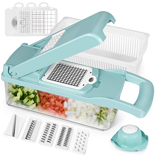 Scoky Vegetable Choppers, Vegetable spiralizer, Fruit and Cheese Cutter, Pro Onion Chopper Slicer Dicer Cutter, Manual Slicer for Garlic, Cabbage, Carrot, Potato, Tomato, Fruit, Salad