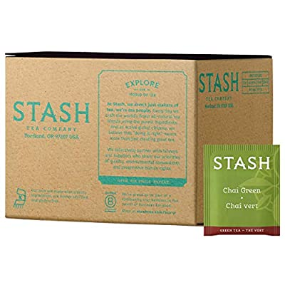 Stash Tea Green Chai Tea 100 Count Tea Bags in Foil (packaging may vary) Individual Spiced Green Tea Bags for Use in Teapots Mugs or Teacups, Brew Hot Tea or Iced Tea, Add Milk for Chai Latte