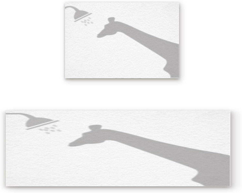 KAROLA 2 Piece Non-Slip Kitchen Mat Doormat Runner Rug Set Thin Low Pile Indoor Area Rugs Funny Giraffe Shadow 19.7 x31.5 +19.7 x47.2