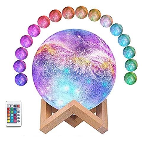 Moon Lámpara, Luz LED De Luna con Soporte, 16 colores Impreso en 3D Luz de luna llena 18 cm , Control Táctil Remoto Y Luz USB Recargable, Regulable para Niños, Amantes, Amigos, Cumpleaños