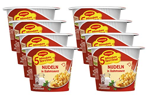 Maggi 5 Minuten Terrine Nudeln in Rahmsauce, 8er Pack (8 x 61 g)