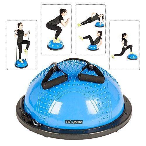 PEXMOR Yoga Half Ball Balance Trainer Exercise Ball Resistance Band Two Pump Home Gym Core Training