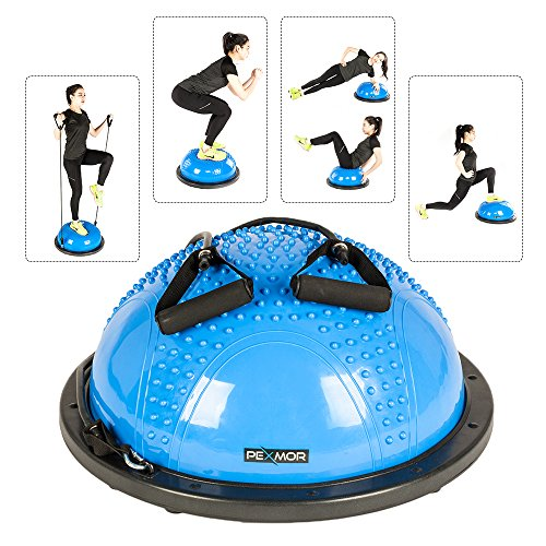 PEXMOR Yoga Half Ball Balance Trainer Exercise Ball Resistance Band Two Pump Home Gym Core Training (Massage Version - Blue)