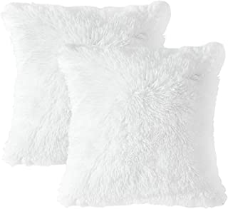 MIULEE Pack of 2 Luxury Faux Fur Christmas Throw Pillow Cover Deluxe Decorative Plush Pillow Case Cushion Cover Shell for Sofa Bedroom Car 18 x 18 Inch White