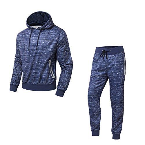 AIRAVATA Sweat à Capuche Pantalon de Sport Jogging Running Gym Survêtement(2 Pièces)