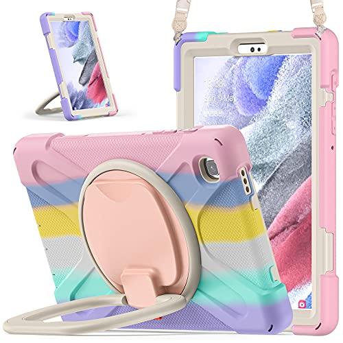 KENOBEE Hülle für Samsung Galaxy Tab A7 Lite 8,7 Zoll Tablet SM-T225/T220 - Stoßfest Robust Schutzhülle mit integrierter Bildschirmschutz, Drehbar Stände, Schultergurt, (Rosa)