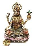 Ebros Hindu Goddess of Wealth and Prosperity Lakshmi Sitting On Lotus Throne Statue Hindu Decor Figurine