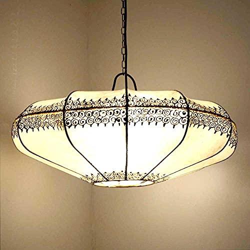 Lámpara de techo oriental Ovni natural, color blanco, 54 x 27 cm, tamaño grande, lámpara de cuero, lámpara colgante sobre la mesa, pantalla de piel auténtica, estructura de metal 210218