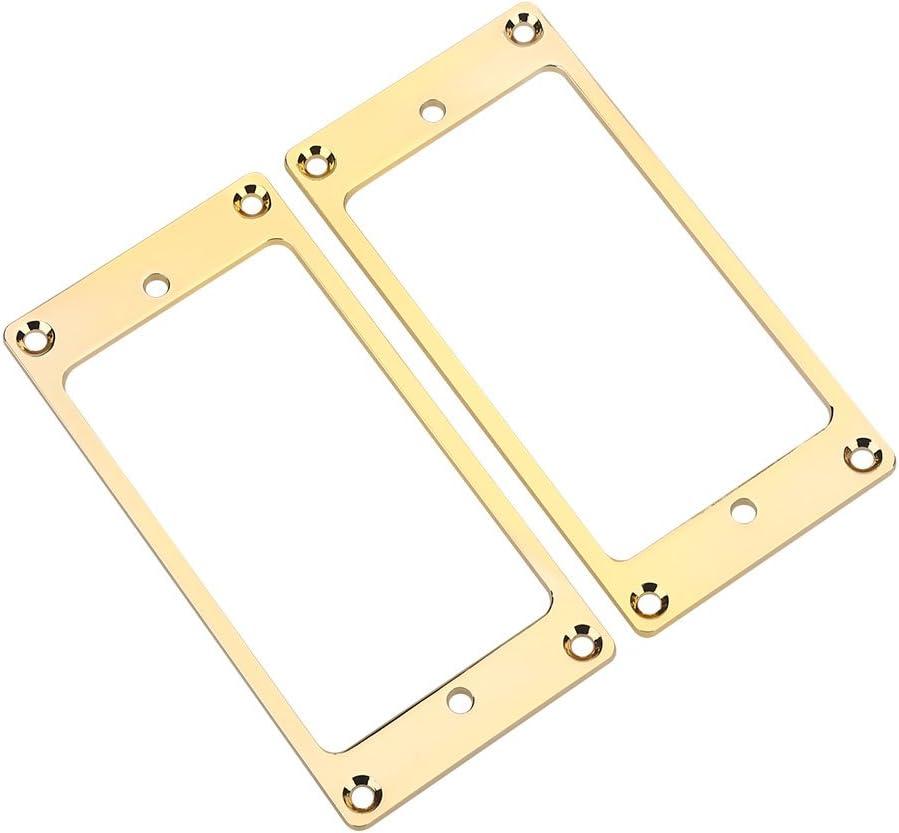 2 piezas de Metal Humbucker Pickup Frame anillos de montaje piezas de repuesto accesorios de instrumentos musicales para pastillas de guitarra eléctrica(Oro)