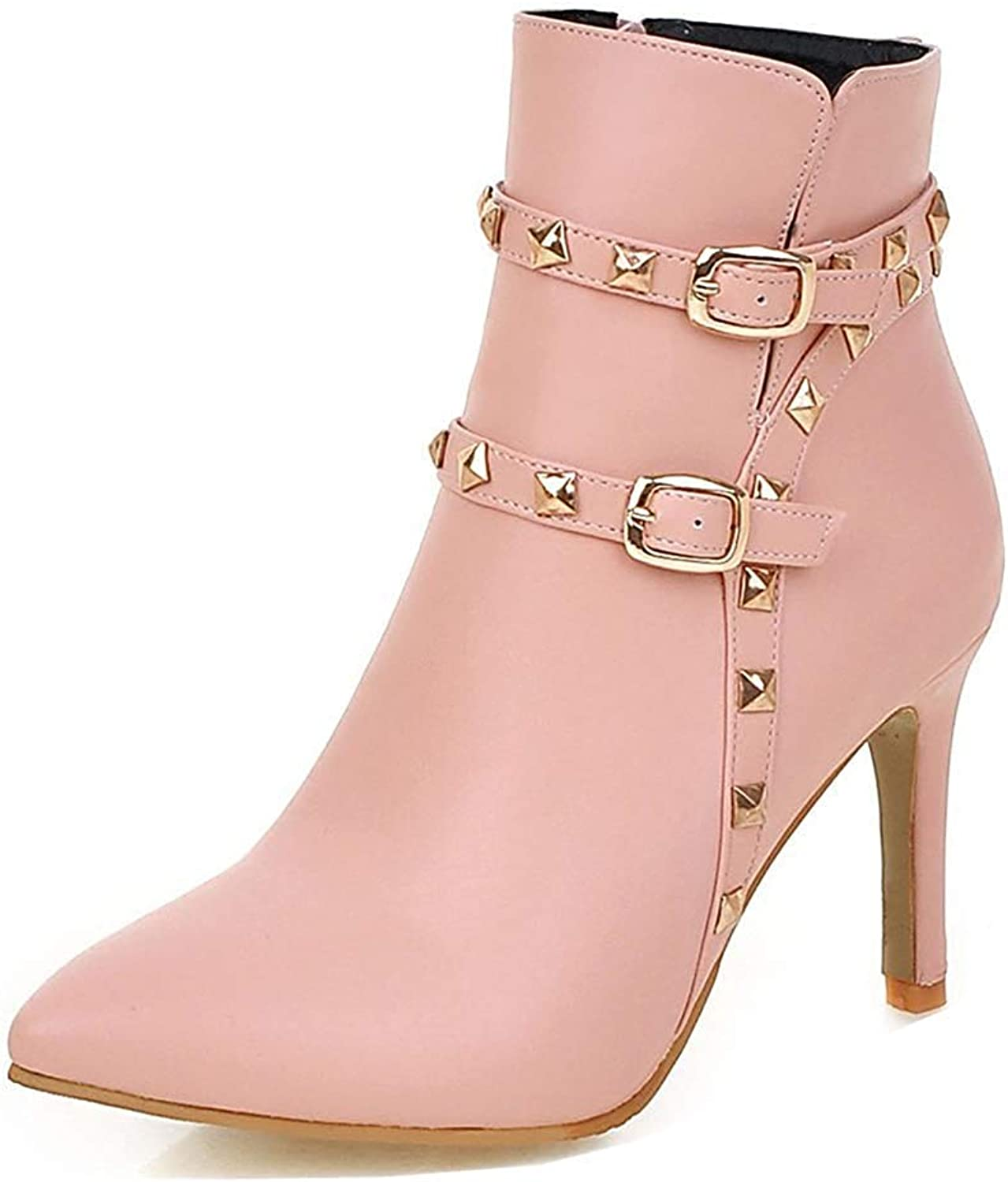 Unm Women's Studded Buckle Strap Stiletto High Heel Short Boots Pointed Toe Dress Ankle Booties with Zipper
