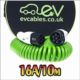 EV Cables CHC001-S(10M) Cable de Carga Espiral, 16 A, 1 Fase, 10 m, IEC 62196-2 Mennekes Tipo 2 a Tipo 2 para Vehículos Eléctricos