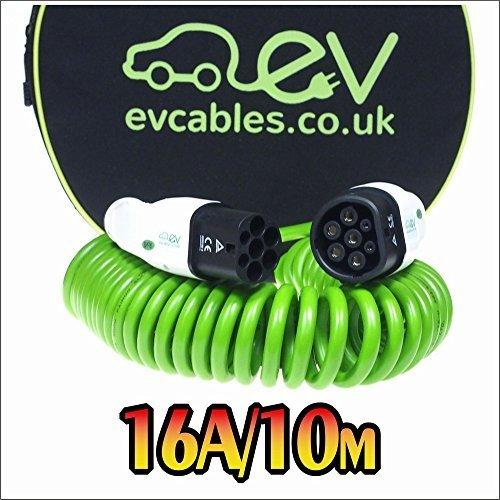 EV Cable de Carga Espiral - 16A - Tipo 2 a Tipo 2 - 10 metros