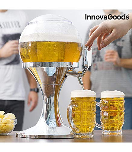 InnovaGoods Ball Coolant Beer Dispenser, PMMA, Silver, 24x24x42 cm