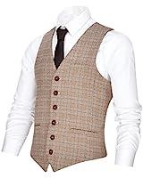 VOBOOM Men's V-Neck Suit Vest Casual Slim Fit Dress 6 Button Vest Waistcoat (Khaki, XL)