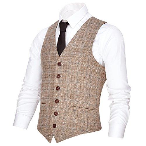 VOBOOM Men's V-Neck Suit Vest Casual Slim Fit Dress 6 Button Vest Waistcoat (Khaki, Large)