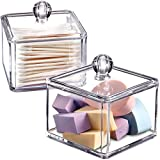 Modern Square Qtip Holder Acrylic Bathroom Vanity Countertop Storage Organizer Canister Jar