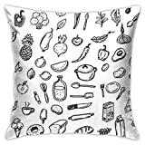 Yuanmeiju Hand Drawn Doodle Healthy Food Taie d'oreiller Double Sided Printing Hidden Zip Taie d'oreiller Pattern Taie d'oreiller