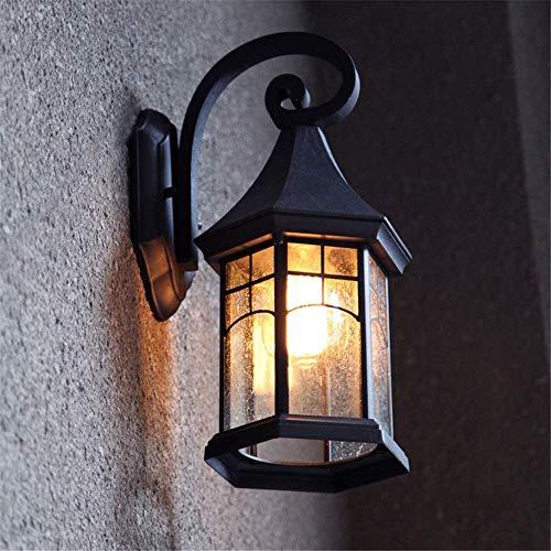 miwaimao Lámpara de pared retro impermeable negra para exteriores, 1 bombilla E27 de aluminio y cristal, para pasillo, escalera, terraza, entrada de la puerta del salón