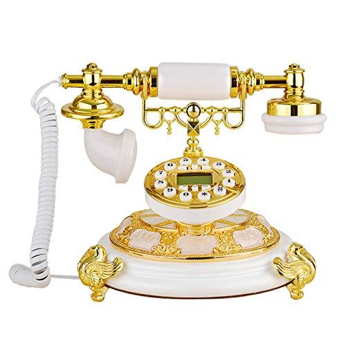 JFF Teléfono Antiguo, Retro Dorado con Diseño De Pajarito Teléfono Fijo Clásico De Estilo Antiguo con Sistema Dual FSK/DTMF Identificador De Llamadas Pantalla Retroiluminada