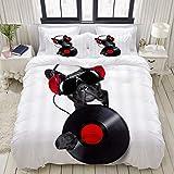 1203 Funda de cama, Dog Funny Bulldog escuchar música con Disc Black Pet Animal, juego de ropa de cama ultra cómodo y ligero microfibra