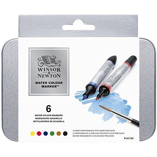 Winsor & Newton Rotuladores de Acuarela, Colores Esenciales, Set de 6