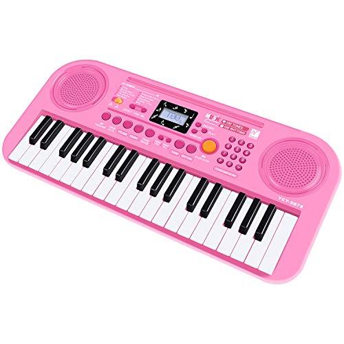 SANMERSEN 電子キーボード 37鍵盤 ピアノ おもちゃ 100種類音色 100種類リズム 10曲デモ レッスンモード 初心者向け 録音 再生機能 LCD液晶画面 USB給電式 電池給電式 CE認証済 日本語取扱書付き 楽譜付き (ピンク)