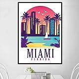 TELEGLO (No Frame) 50 * 70cm Retro Vintage Miami New York