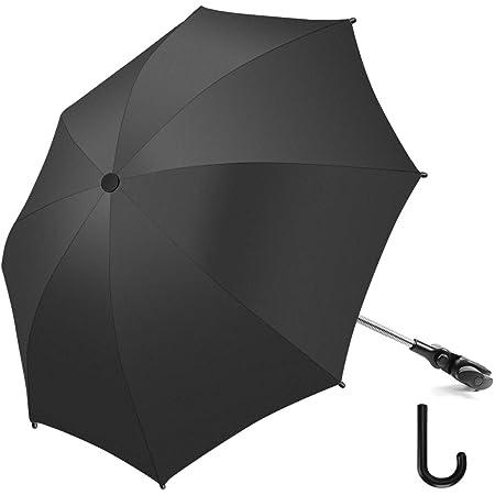 RIOGOO Sombrilla Sombrilla Sombrilla Universal 50+ UV Sombrilla de protección solar para bebés y bebés con manija de paraguas para cochecito, silla de paseo, silla de paseo y Buggy-Black