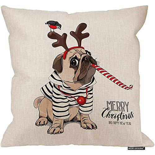 Marlon Kitty Funda de Almohada navideña, Rebeca de Rayas Divertidas Perro Pug en Fiesta Divertida Sofá silbando Sofá Sofá Silla de Escritorio Dormitorio