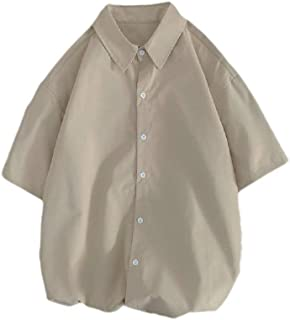 CuteRose Men's Basic Cotton Relaxed Summer Buttoned Short Sleeve Shirts