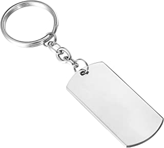 HooAMI Stainless Steel Engravable Polished Rectangle Keychain 44mmx20mm