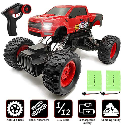GoStock 4WD RC Cars, 1:12 Off-Road Electric Rock Crawler Truck, Remote Control Car, Buggy Hobby Car for kids - All Terrain Waterproof Toys Racing car Toy for Boys and Adults - 2 Batteries