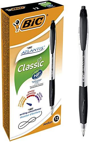 Bic Atlantis Classic a Scatto Punta Media 1,0 mm Confezione 12 Penne Colore Nero