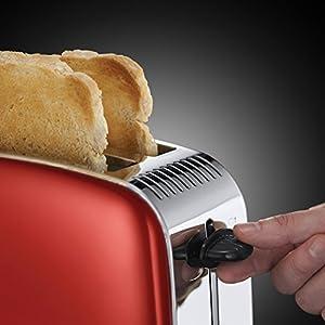Russell Hobbs 23330-56 Toaster, Grille Pain Extra Large Colours Plus, Cuisson Rapide et Uniforme, Contrôle Brunissage, Chauffe Viennoiserie - Rouge