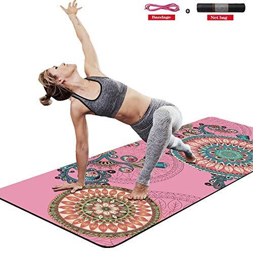 Plufsig Gymnastikmatte, Fittastic Yogamatte rutschfest XL Refit Fitnessmatte, Isomatte,Camping Matten, Pilates Balance-pad Mit Riemen Und Netztasche 183 X 66 X 0.6 cm (Rosa2)