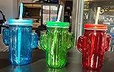 Set di 3 bicchieri in vetro con cannuccia riutilizzabile e coperchio avvitabile, 350 ml (multicolore)