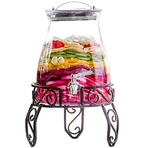 HYXXQQ-fles 5L Glazen Drank Dispensers  met Lekvrije Spigot  Glazen Deksel   Stabiele Stand   Feestbruiloft, Gezinsbijeenkomsten, Verjaardagsfeestje   Clear AA++