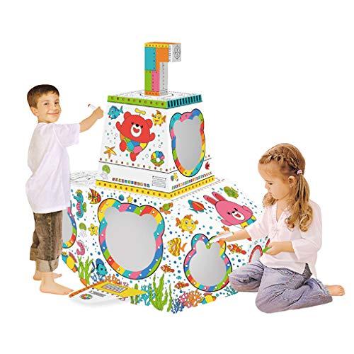 Graffiti Onderzeeër, Diy Doodle Kartonnen Speelhuisje, Kindertent Kinderen Rollenspel Huisje Indoor Spelen Schilderen Papieren Huisje Met Ledverlichting En Geluiden Cadeau Voor Meisjes En Jongens