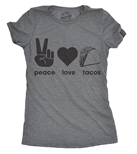 Crazy Dog Tshirts - Womens Peace Love Tacos T Shirt Funny Saying Cute Graphic Vintage Ladies Design (Dark Heather Grey) - 3XL - Camiseta para Mujer