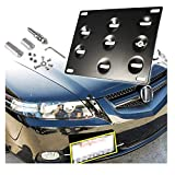 Xotic Tech Tow Hook License Plate Bumper Screw On Mount Bracket Compatible with Honda Fit or Acura TL 2006-2008 (Black)